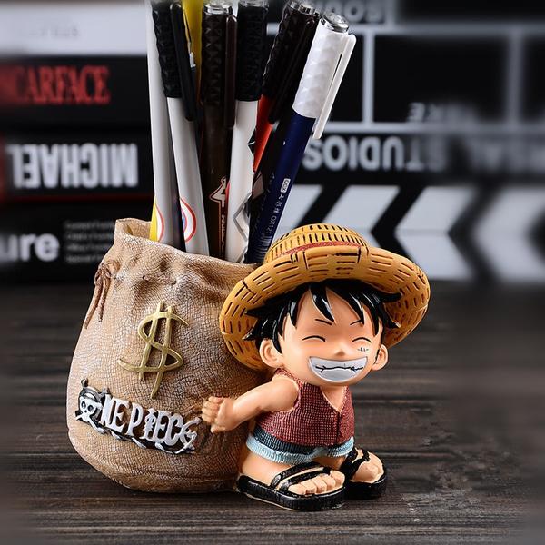 Anime One Piece Kawaii Cartoon Monkey D Luffy Doll Pen Holder 4in
