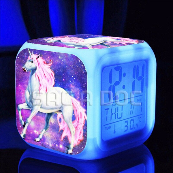 unicorn alarm clock cute color changing clock cool LED clock Popular  pattern LED Digital alarm clock toys, free gift power cord