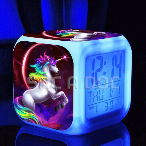 kids Beautiful unicorn LED clock cool Popular pattern Luminous Clock  Beautiful night light alarm clock, free gift power cord