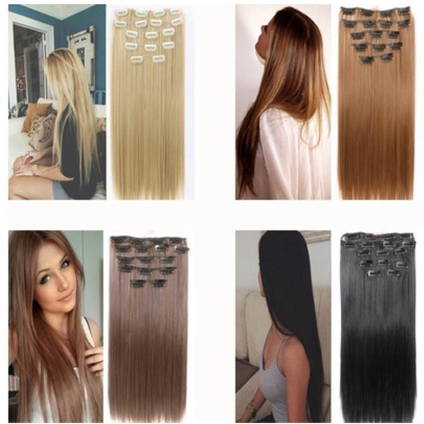 Wish Full Head Clip In Hair Extensions Synthetic Thick Long 16