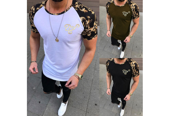Plus Size S~3XL Casual Style Men's Fashion O-neck Short Sleeve T-shirt Casual Style Cotton Tee Men's Summer Slim Fit Printing Tops