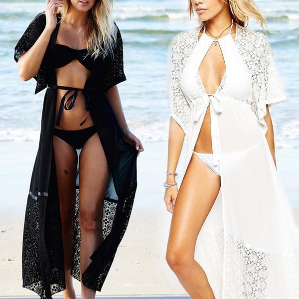 75dc1e232b08 Las mujeres de moda Sexy gasa Bikini largo cubre traje de baño traje de  playa camisa de vestir traje de baño