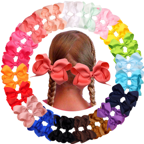 Cute 40pcs //20pcs Baby Girls Hair Bows For Kids Hair Bands Alligator Hair Clips