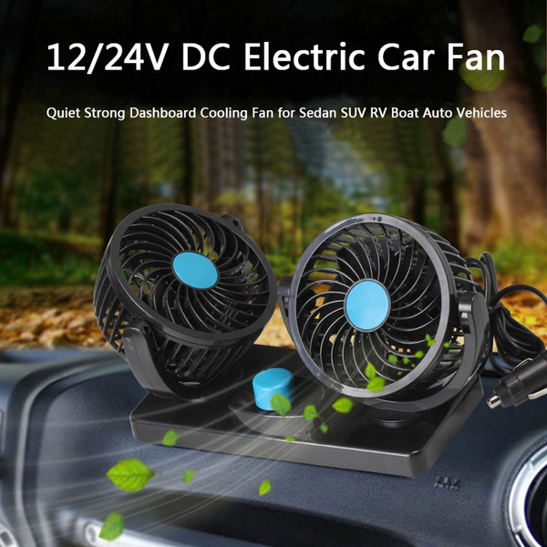 12/24V DC Electric Car Fan - Rotatable 2 Speed Dual Blade with 6FT Cord -  Quiet Strong Dashboard Cooling Fan for Sedan SUV RV Boat Auto Vehicles -