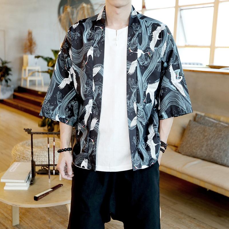 Dettagli su uomo giapponese Kimono Cardigan Yukata Crane maglia giacca cappotto giacca