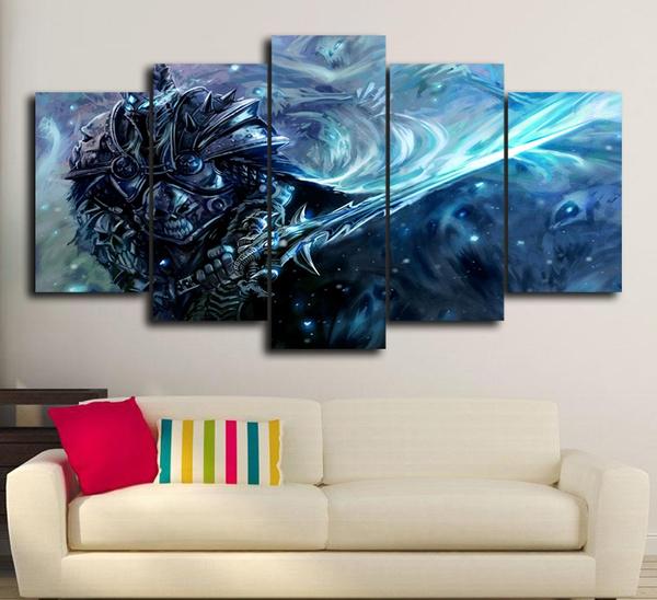 Wish | 5 Panels World of Warcraft Lich King Oil Painting Wall Art ...