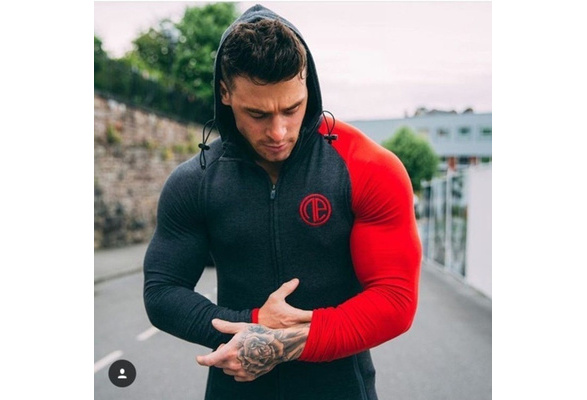 2018 New Sport Men's GYM Sweater Long Sleeve Muscle Bodybuilding Cotton Hoodie
