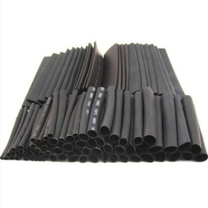 127Pcs Black Glue Weatherproof Heat Shrink Sleeving Tubing Tube AssortmentUULK
