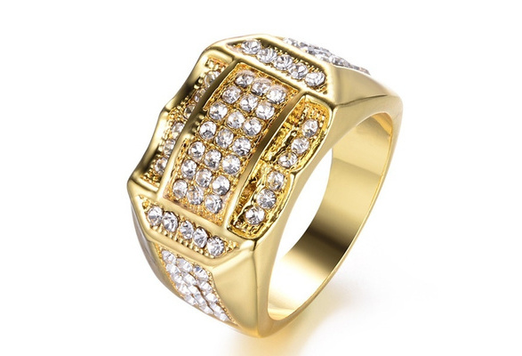 18K Gold Plated Wedding Engagement Men's Ring