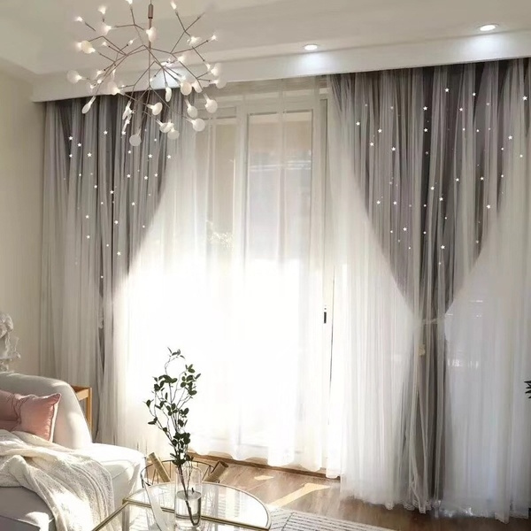 European Style Home Decor Romantic Voile+Cloth Curtains for Living Room  Grey Ready Blackout Drapes Window Tulle for Bedroom Cortinas
