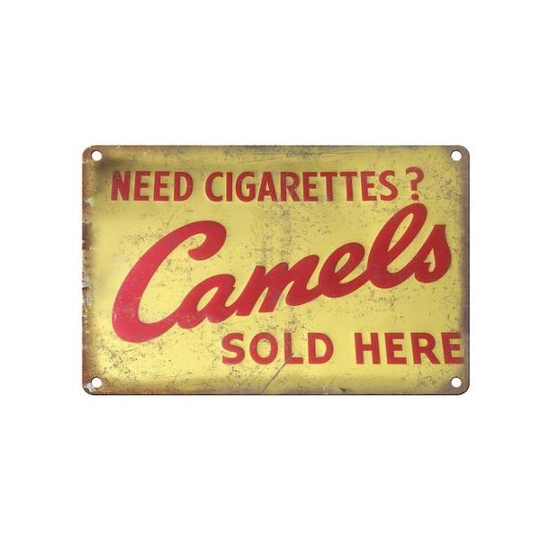 Vintage Camel Cigarettes Logo Classic Tin Sign Bar Pub Home Wall