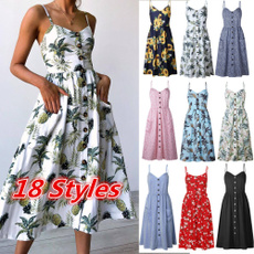 buttondres, Summer, dressesforwomen, Princess