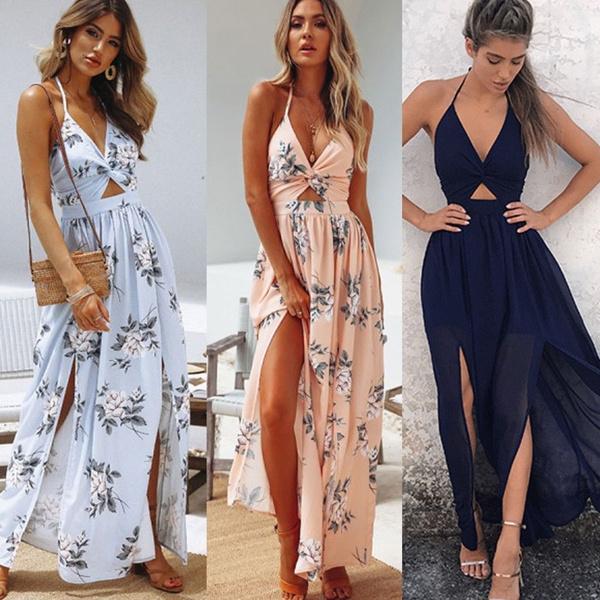 Women's Fashion, sleeveless, Floral print, long dress