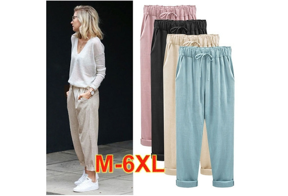 Women's Cotton Linen Cropped Pants Hip Hop Loose Harem Pants Plus Size M-6XL