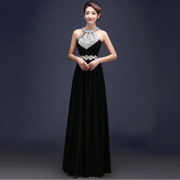 Wish | Womens Inlay Rhinestones Evening Dress Floor-length Satin ...