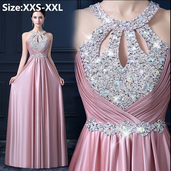 Womens Inlay Rhinestones Evening Dress Floor-