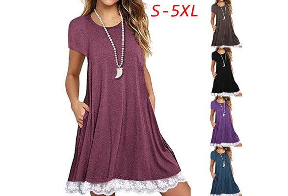 Women's Fashion Plus Size Casual Short Sleeve Lace Trim Tunic Summer T-Shirt Swing Dress with Pockets