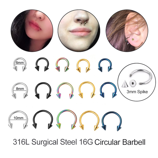 5pcs Lot 16g Surgical Steel Spike Circular Barbell Horseshoe
