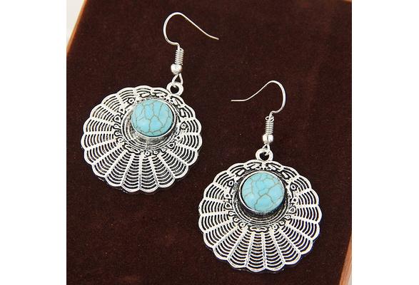Vintage Bohemia Tibetan Silver Flower Natural Stone Classic Pretty Earrings for Women Fashion Jewelry Created