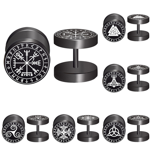 2pcs/Lot Sigil Viking Runes Sigil Protection Talisman WICCA Triangle Fake  Ear Gauge,Plugs and Tunnels,Fake Piercing Expander Stretcher, Punk Earring