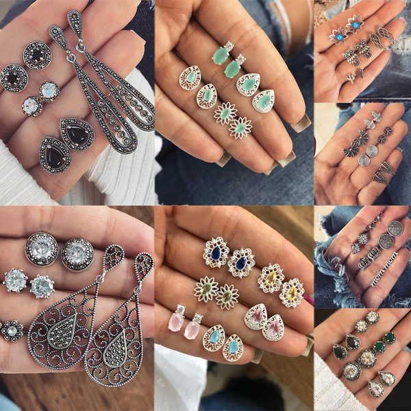Sterling, opalearring, Gemstone Earrings, vintage earrings