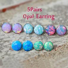 opalearring, Gemstone Earrings, Stud Earring, Simple