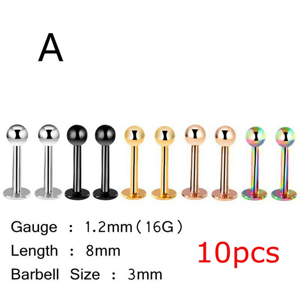 Wish 10pcs Stainless Steel Segment Ring Nose Ear Lip Belly Nipple