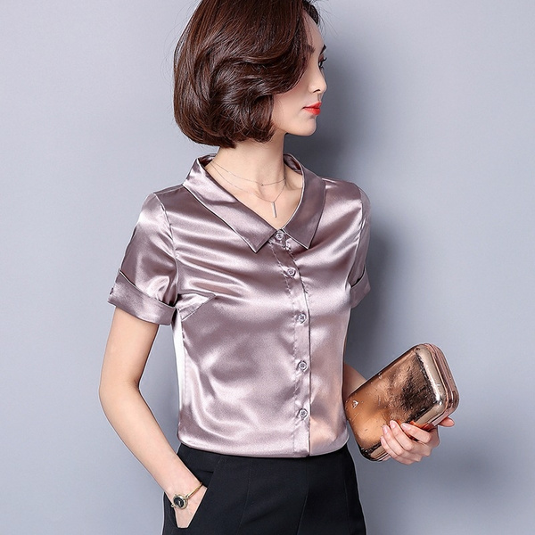 4999201d8 Women Faux Silk Satin Shirt Short Sleeve Button Down Work Formal ...