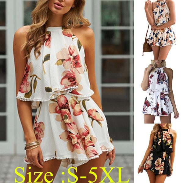 Women Summer Bohemian Style Floral Printed Halter Top & Short Pants Outfits  Suit Plus Size S-5XL