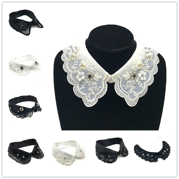 1 Piece Fashion Shirt Lace Sweater Elegant False Collar Wedding Dress Accessories Xh 19 27 White Black