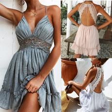 Summer, halter dress, Lace, Cocktail