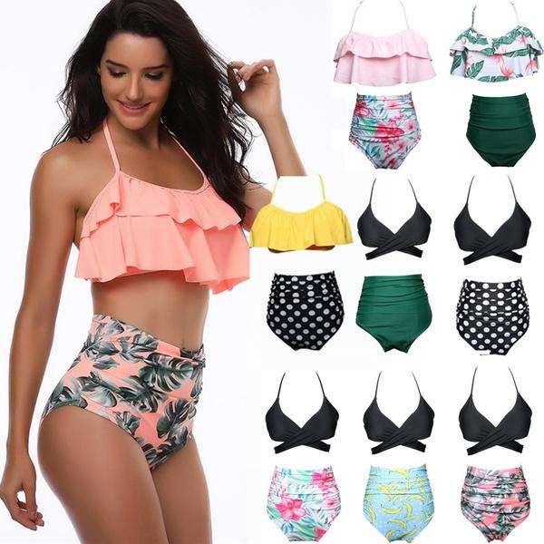 bathing suit, two piece swimsuit, bikini set, printed