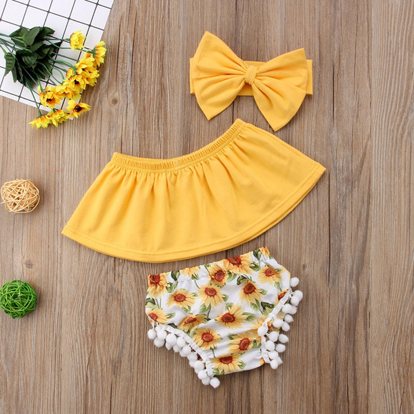 e1265c2ee35b9 3Pcs Baby Girl Crop Top Off Shoulder+Sunflower Shorts Pants Summer Clothes  Outfits(0-2Y)
