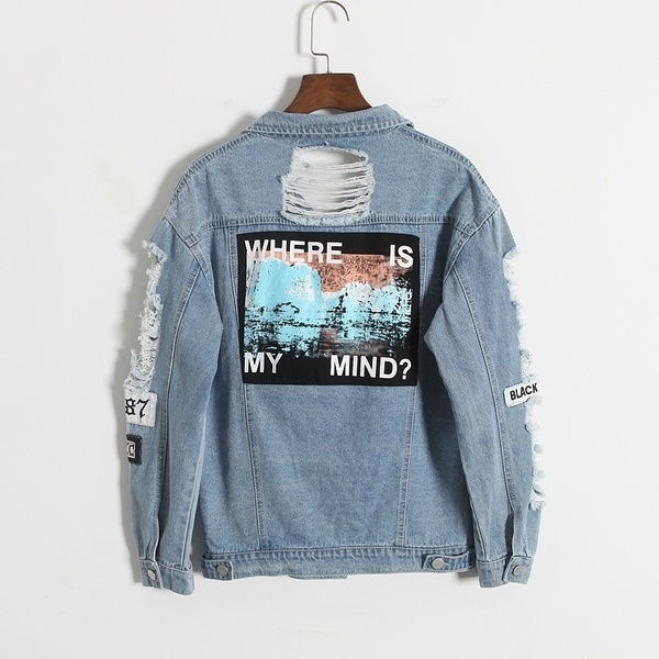 Wish Retro Washing Frayed Embroidery Letter Patch Jeans Bomber