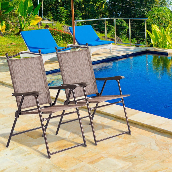 Fine Set Of 2 Patio Folding Sling Back Chairs Camping Deck Garden Beach Brown Gmtry Best Dining Table And Chair Ideas Images Gmtryco
