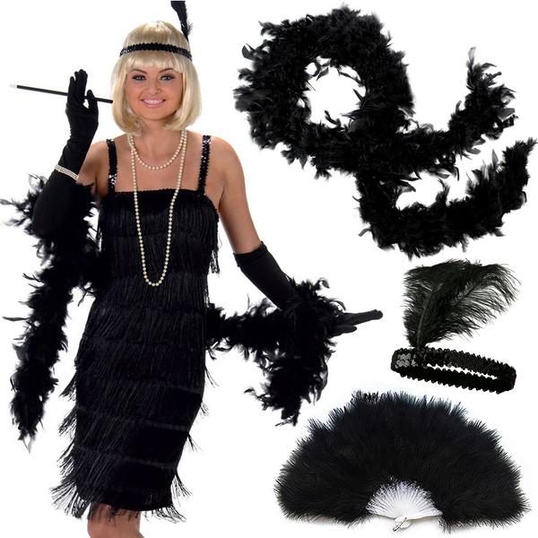 49ece4cc Women's Roaring 20s Flapper Girl Costume Accessories Deluxe 3 Pack Set  Charleston Jazz Gatsby Fancy Dress Outfits Feather Headband Boa Hand Fan |  Wish