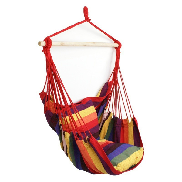 Wish | Segawe Hanging Rope Chair   Hanging Hammock Chair   Porch Swing Seat    With Two Cushions   Stand Is Not Included