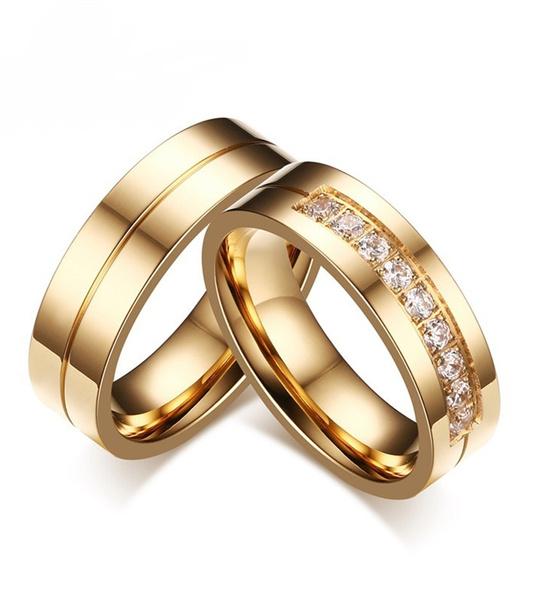 Couple Rings, Steel, 18k gold, zirconring