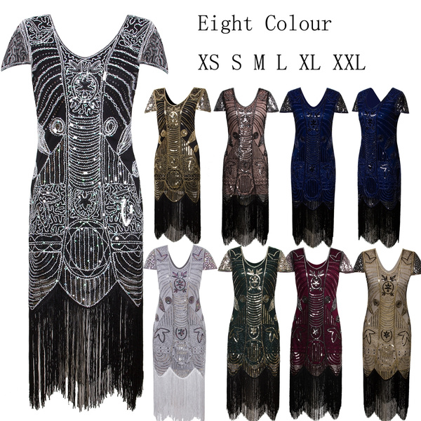 bee58a9ad18 Gatsby Art Deco Sequin Flapper Dress For Women V Neck 1920s ...
