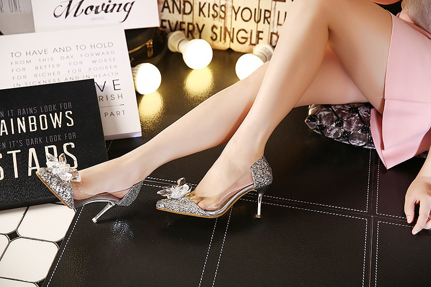 03ea18d7adf2d Plus Size Cinderella Shoes Low Heels Ladies Pumps Women Wedding Party Shoes  Thin Heel Rhinestone Butterfly Crystal Dress Shoes