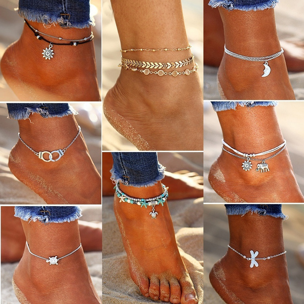 Crystal Sequins Anklet Set For Women Beach Foot Jewelry Vintage Statement Elephant Moon Chain Charm Anklets Bracelet Boho Retro Style Party Summer Alloy Jewelry by Wish