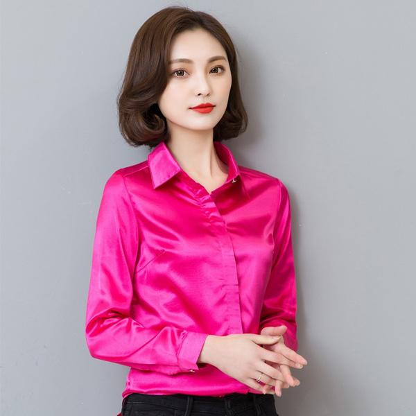 1d32031033d Women silk satin blouse button long sleeve lapel ladies office work ...