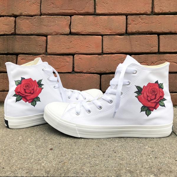 bcbc95c5ec8d2 Wen Canvas Shoes Design Flower Shoes Men Women Valentine's Gifts White High  Top Flat Lacing Plimsolls Sneakers