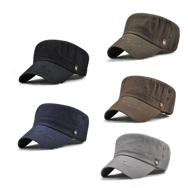 Classic Washed Cotton Army Cadet Cap Men Women Adjustable Military Style  Flat Hat