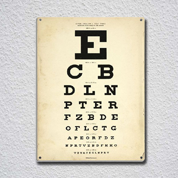 Wish Eye Chart Tin Sign Metal Poster Decor Painting Wall Sticker
