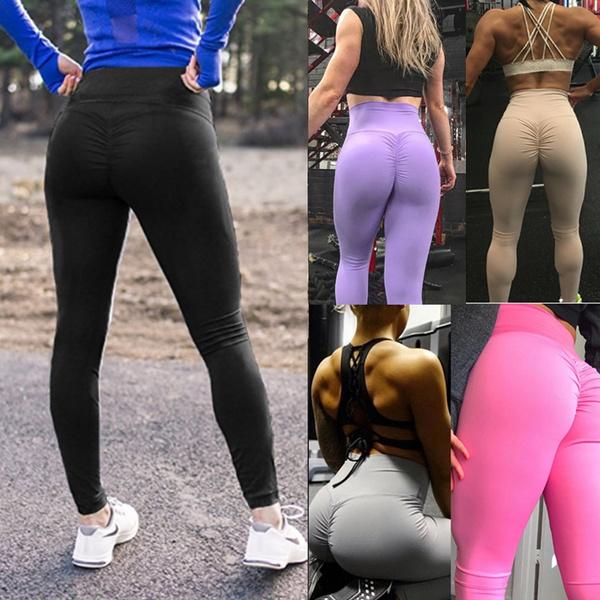 c4762098f0318d Women High Waist Ruched Butt Lifting Leggings Fitness Tight Sport ...