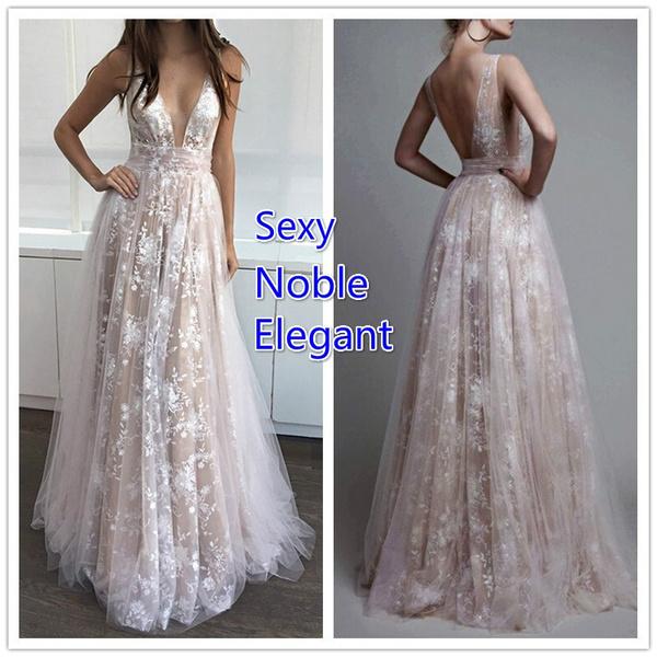 ce3e7cfe917 Vestido De Noiva 2018 Deep V Neck Boho Wedding Dress Plus Size ...