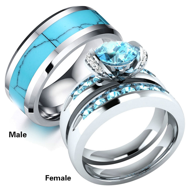 f4a662ad9e18b 3PCS Rings Sz6-12 His and Hers Wedding Engagement Rings Set Women's  Sapphire CZ S925 Silver Ring and Men's Turquoise Stainless Steel Ring  Couple ...
