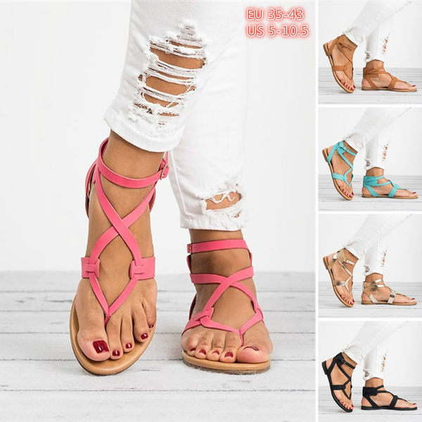 93b6d2242 Women s Fashion Summer Flat Sandals Open Toe Roman Shoes Ankle Strap ...