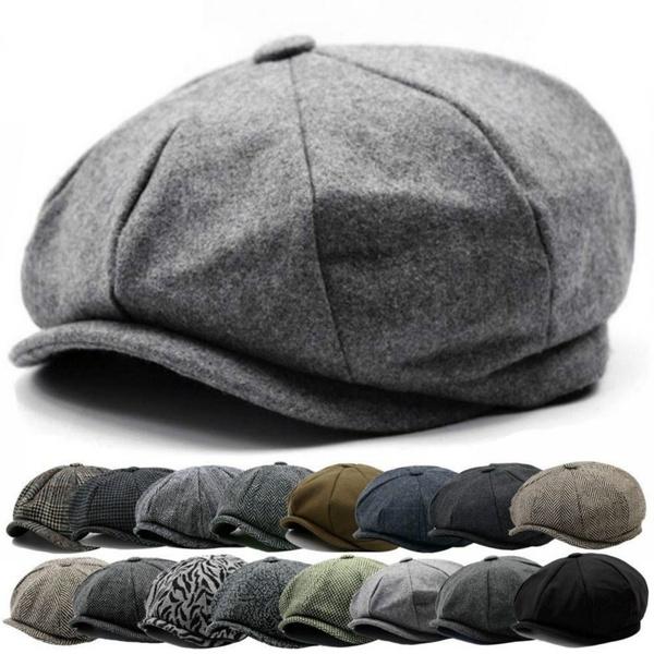 0b2cb29f2 Mens Flat Cap Tweed Grey 8 Panel Newsboy Baker boy Hat Gatsby Peaky  Blinders USA